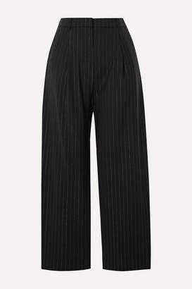 Kenzo Cropped Metallic Pinstriped Wool-blend Straight-leg Pants - Black