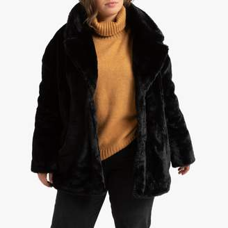 La Redoute Collections Plus Faux Fur Coat with Press Studs and Pockets