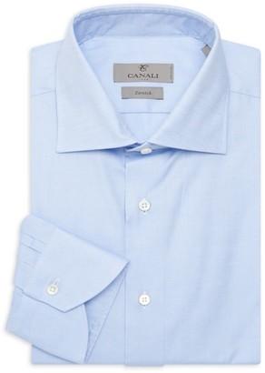 Canali Solid Textured Dress Shirt