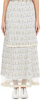 Stella McCartney Women's Swan-Print Silk Skirt-LIGHT GREY