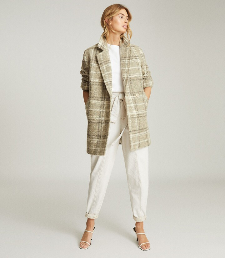 Thumbnail for your product : Reiss Skylar - Wool-blend Check Overcoat in Neutral