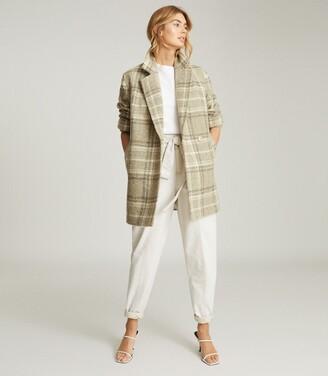 Reiss Skylar - Wool-blend Check Overcoat in Neutral