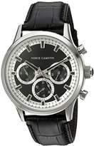 Vince Camuto Men's VC/1089BKSV Multi-Function Dial Black Croco-Grain Leather Strap Watch