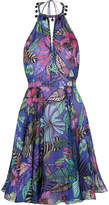 Matthew Williamson Kantuta Valley Printed Silk-chiffon Halterneck Mini Dress - Indigo