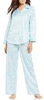 Miss Elaine Floral Brushed-Back Satin Pajamas
