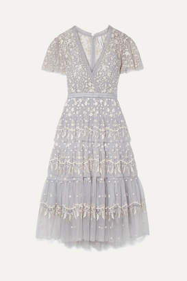 Needle & Thread Angelica Tiered Embroidered Tulle Midi Dress - Sky blue