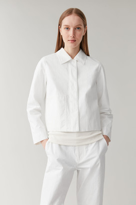Cos Embroidered Cropped Cotton Jacket