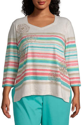 Alfred Dunner Coastal Drive Stripe Embroidery Top - Plus
