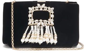 Roger Vivier Broche Crystal-embellished Velvet Shoulder Bag - Black