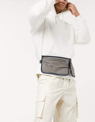 Asos Design DESIGN leg holster fanny pack in gray and blue with zip-Black