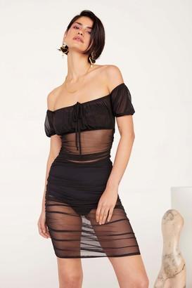 Nasty Gal Womens Gather Your Things Mesh Dress - Black