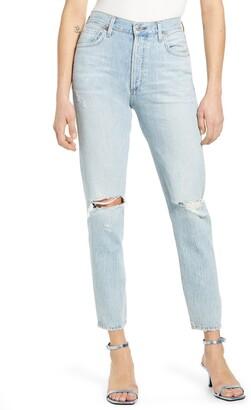 Citizens of Humanity Liya High Waist Ripped Slim Leg Jeans