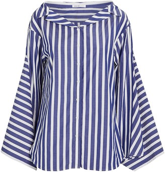 ADEAM Striped Cotton Button-Down Shirt