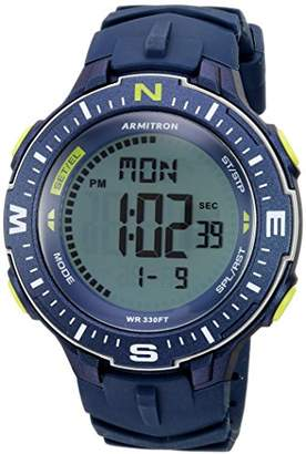 Armitron Sport Men's 40/8391NVY Lime Green Accented Digital Chronograph Silicone Strap Watch