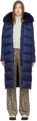 Yves Salomon Army Army Navy Down Puffer Coat