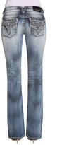 Vigoss Medium Wash Faux Leather-Flower New York Straight-Leg Jeans