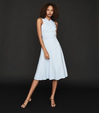 Reiss PAIGE FIT-AND-FLARE MIDI DRESS Pale Blue