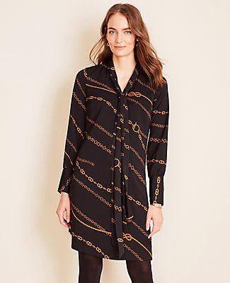Ann Taylor Petite Chain Print Tie Neck Shift Dress