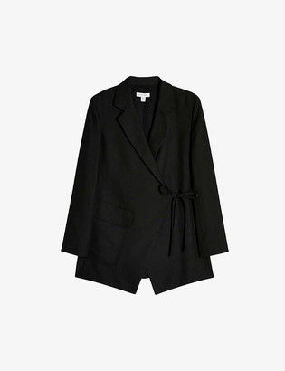 Topshop Boutique wrap-front twill woven blazer