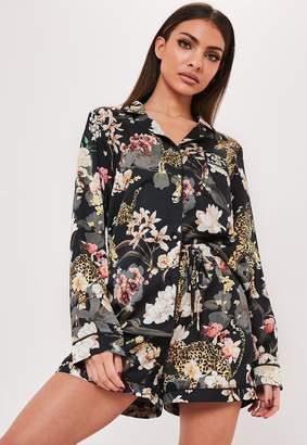 Missguided Green Leopard Floral Satin Pyjama Set