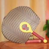 African Fan with Mask Artisan Crafted in Cotton and Wood, 'Obaahemaa I'