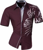 jeansian Men's Slim Dragon Short Sleeves Dress Shirts Z031 WineRed XXL
