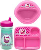 Zak Designs Pink Owl Three-Piece Dinnerware Set