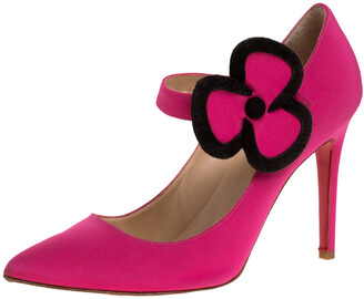 Christian Louboutin Pink Satin Pensee Mary Jane Pumps Size 38.5