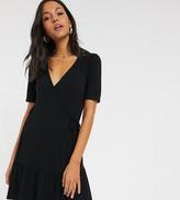 Asos Tall DESIGN Tall wrap mini dress in black