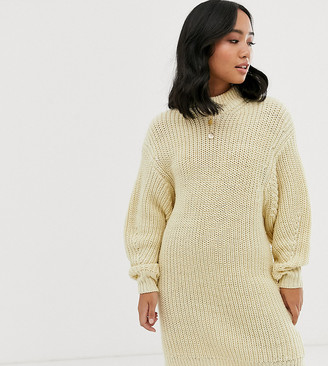 Asos DESIGN Petite knitted rib mini dress with chunky crew neck-Cream
