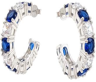 Savvy Cie Silver Cz Hoop Earrings