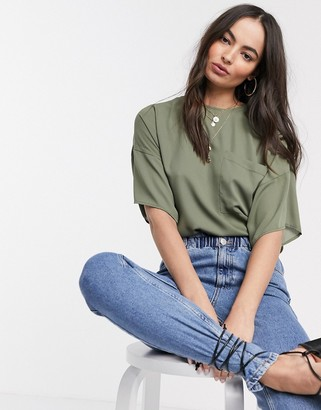 Asos DESIGN woven tee with pocket