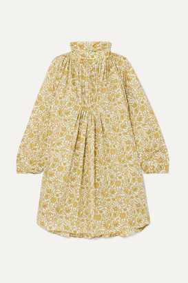NACKIYÉ Frou-frou Gathered Floral-print Cotton-poplin Mini Dress - Gold