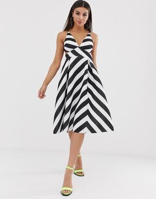 ASOS DESIGN chevron strappy back minimal prom midi dress