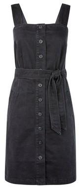 Dorothy Perkins Womens Black Belted Pinafore Denim Dress, Black