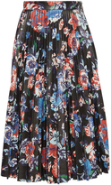 MSGM Black Floral Faux Leather Pleated Skirt