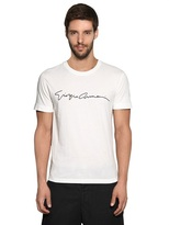 Giorgio Armani Beaded Signature Cotton Jersey T-Shirt