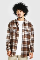 boohoo Mens Brown Oversized Long Sleeve Brushed Check Shirt, Brown