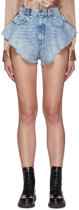 Alexander Wang Pebble Bleach Ruffle Distress Hem Shorts