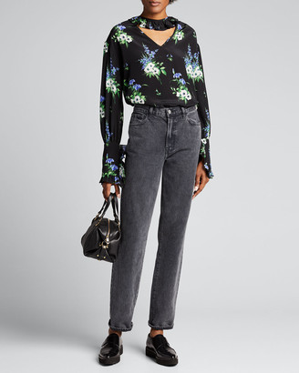 Les Rêveries Ruffle Collar Long-Sleeve Floral Top