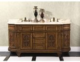 Infurniture Natural Stone Top 71-inch Double Sink Vintage Style Bathroom Vanity