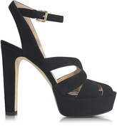 Michael Kors Winona Black Suede Leather Platform Sandal