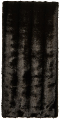 Commission Brown Faux-Mink Blanket Scarf