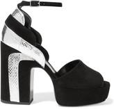 Pierre Hardy Roxy metallic watersnake-paneled suede platform sandals