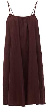Loup Charmant Scoop-neck Cotton-poplin Slip Dress - Womens - Dark Purple