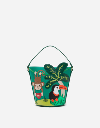 Dolce & Gabbana Bucket Bag In Nappa Calfskin With Jungle Patch