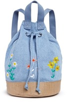 Stella McCartney 'Gardenia' floral embroidery denim kids bucket backpack
