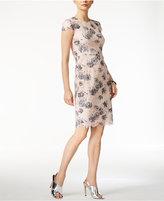 Betsey Johnson Floral-Print Lace Sheath