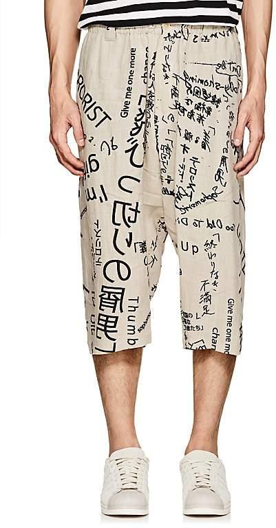 Yohji Yamamoto Men's Text-Print Linen Crop Trousers