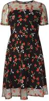 Dorothy Perkins Floral Embroidered Fit And Flare Dress